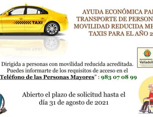 Abierto el plazo para la concesión de ayudas a personas con movilidad reducida para el uso de taxis